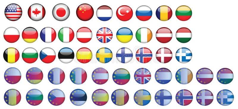 Vlag de V.S. Canada Duitsland Polen Frankrijk Italië vector illustratie
