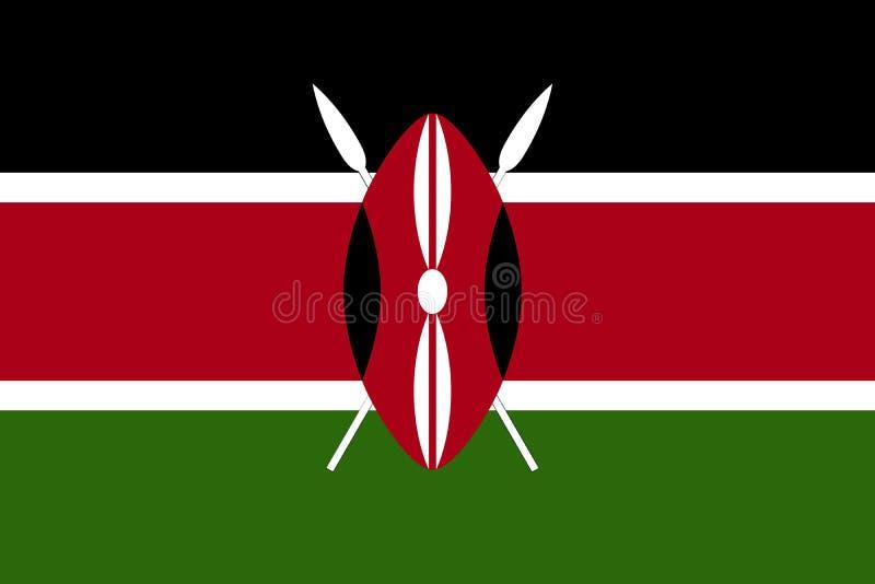 Vlag de Vectorkenia vlag van van Kenia, vector illustratie