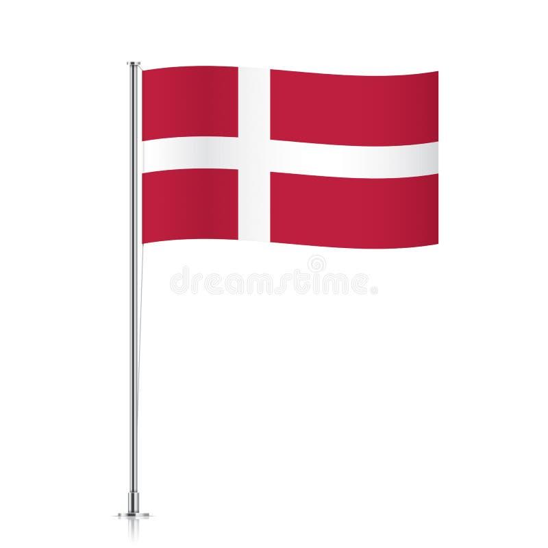 Vlag die van Denemarken op een metaalpool golven royalty-vrije stock afbeeldingen