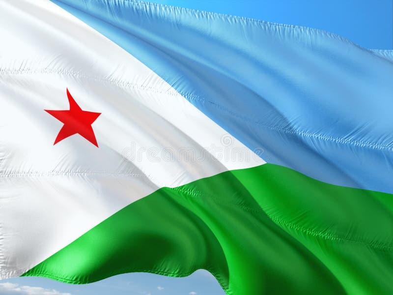 Vlag die van Djibouti in de wind tegen diepe blauwe hemel golven Hoog - kwaliteitsstof royalty-vrije stock fotografie
