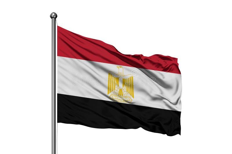 Vlag die van Egypte in de wind, geïsoleerde witte achtergrond golven Egyptische vlag stock illustratie