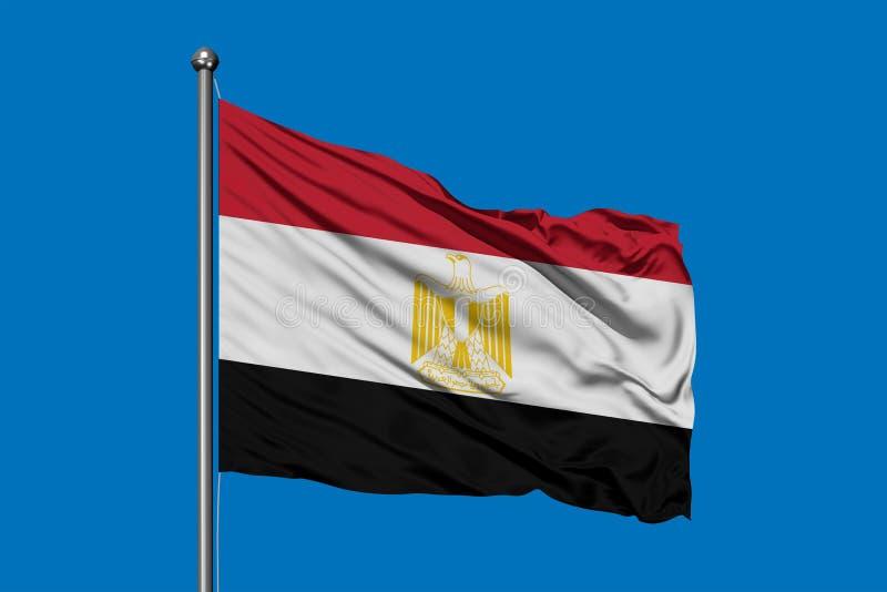 Vlag die van Egypte in de wind tegen diepe blauwe hemel golven Egyptische vlag vector illustratie
