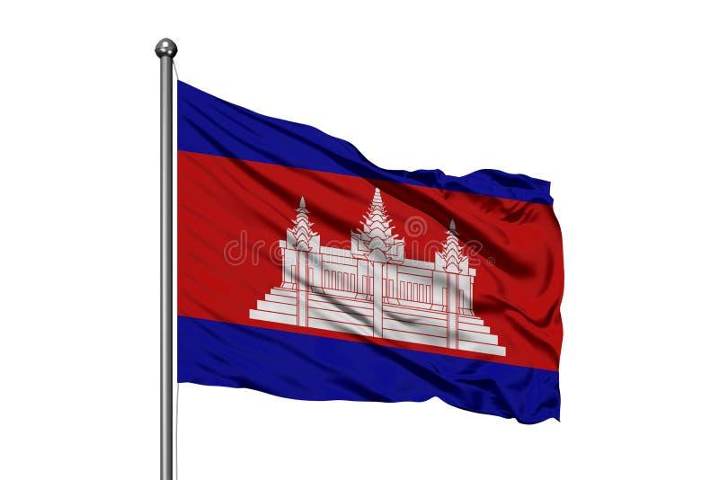 Vlag die van Kambodja in de wind, geïsoleerde witte achtergrond golven Cambodjaanse vlag stock afbeeldingen