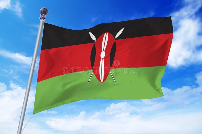 Vlag die van Kenia zich tegen een blauwe hemel ontwikkelen stock fotografie