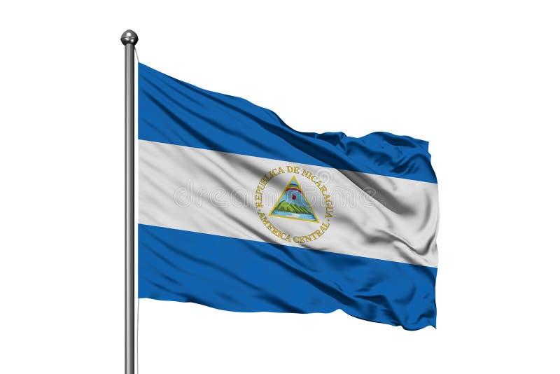 Vlag die van Nicaragua in de wind, ge?soleerde witte achtergrond golven Nicaraguan Vlag royalty-vrije stock foto's