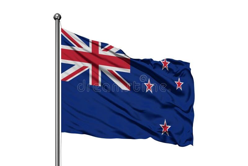 Vlag die van Nieuw Zeeland in de wind, ge?soleerde witte achtergrond golven royalty-vrije stock afbeelding