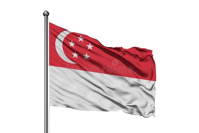 Vlag die van Singapore in de wind, ge?soleerde witte achtergrond golven Singaporean Vlag stock afbeeldingen