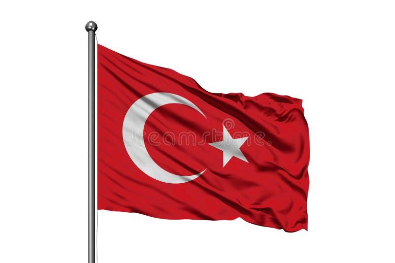 Vlag die van Turkije in de wind, ge?soleerde witte achtergrond golven Turkse vlag royalty-vrije stock foto's