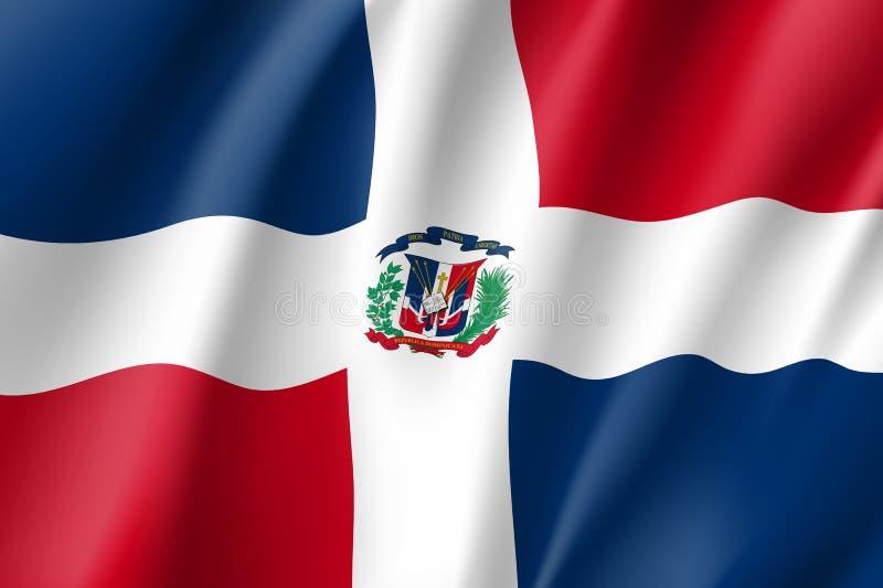 Vlag Dominicaans realistisch pictogram stock illustratie