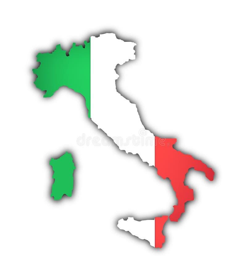 Vlag en kaart van Italië royalty-vrije illustratie