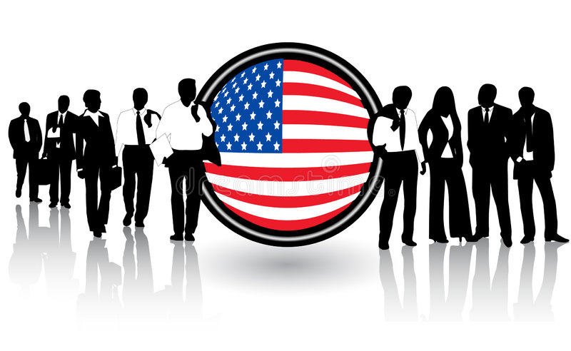 Vlag en mensen stock illustratie
