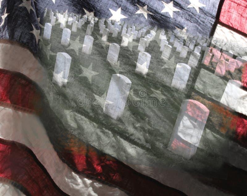 Vlag en militaire begraafplaats stock illustratie