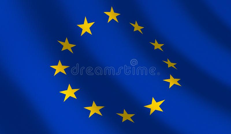 Vlag Euro unie en golf royalty-vrije illustratie