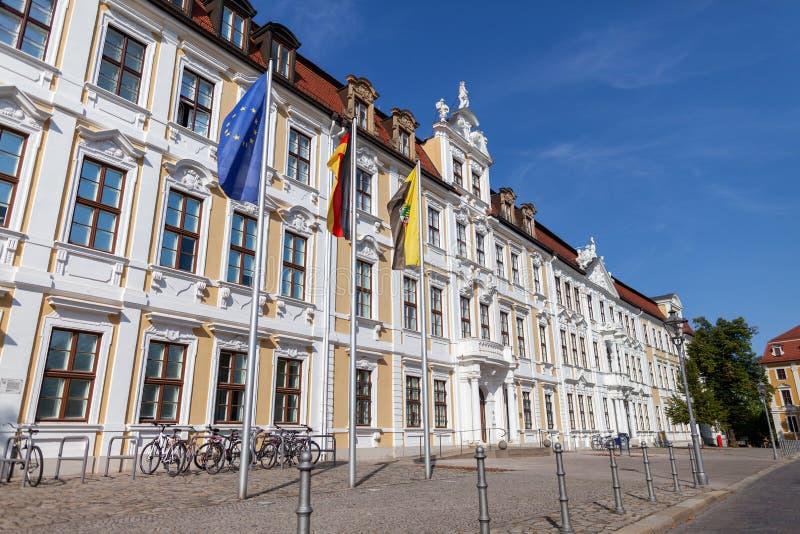 Vlag Europa, het Duits en Saksen-Anhalt stock foto's