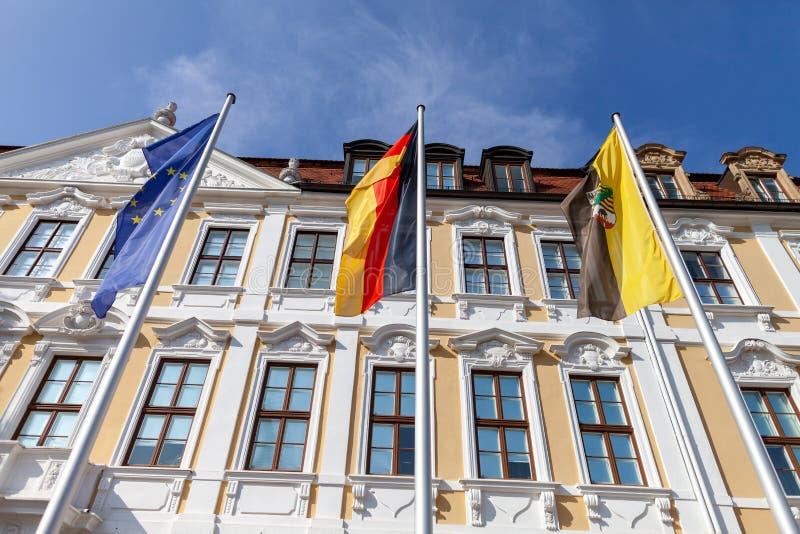 Vlag Europa, het Duits en Saksen-Anhalt stock foto