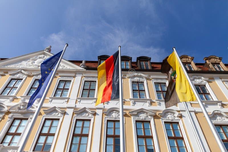 Vlag Europa, het Duits en Saksen-Anhalt royalty-vrije stock afbeeldingen