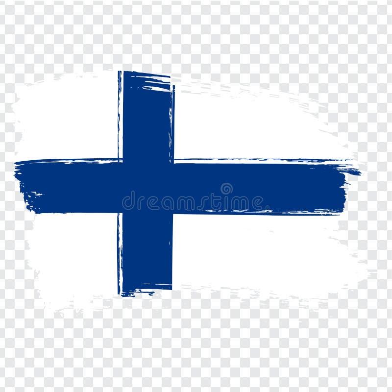 Vlag Finland, de achtergrond van de borstelslag Vlag van Finland op transparante achtergrond Voorraadvector Vlag voor uw websiteo stock illustratie