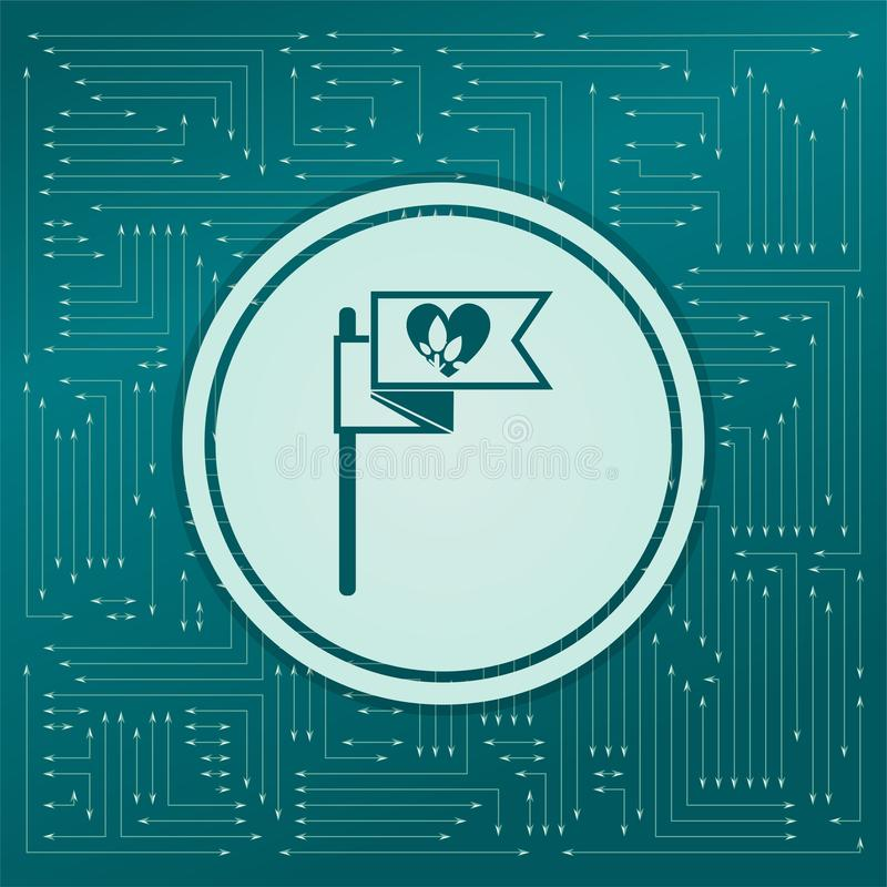 Vlag, hartpictogram op een groene achtergrond, met pijlen in verschillende richtingen Het lijkt de elektronische raad stock illustratie