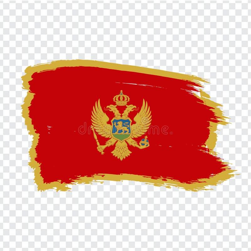 Vlag Montenegro van kwaststreken Vlag Montenegro op transparante achtergrond voor uw websiteontwerp, embleem, app, UI royalty-vrije illustratie