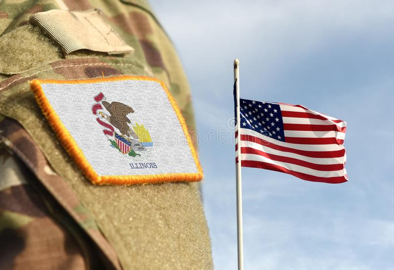Vlag op het militaire uniform van de staat Illinois Verenigde Staten VS, leger, soldaten Collage stock foto's