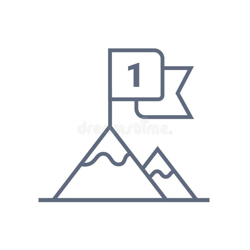 Vlag op pictogram van de berg het hoogste lijn, overzichts vectorteken, lineair die stijlpictogram op wit wordt ge?soleerd Voltoo vector illustratie