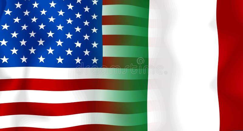 Vlag V.S.-Italië stock illustratie