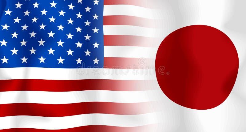 Vlag V.S.-Japan royalty-vrije illustratie