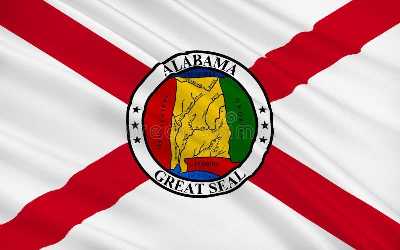 Vlag van Alabama, de V.S. stock fotografie