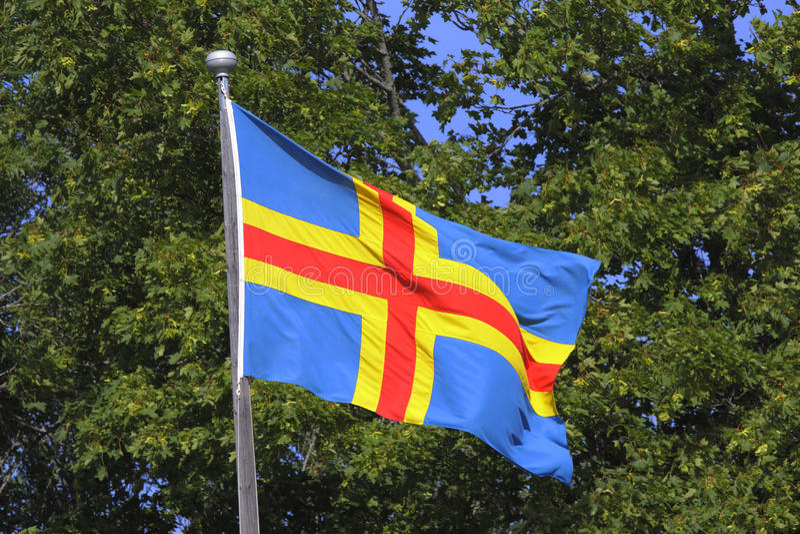 Vlag van Aland-Eilanden royalty-vrije stock afbeelding