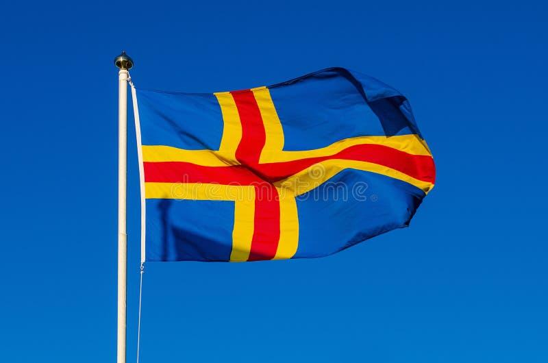 Vlag van Aland-Eilanden stock foto