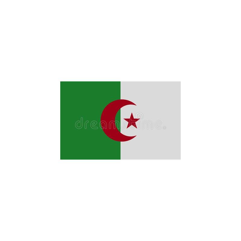 vlag van Algerije gekleurd pictogram Elementen van het pictogram van de vlaggenillustratie De tekens en de symbolen kunnen voor W royalty-vrije illustratie