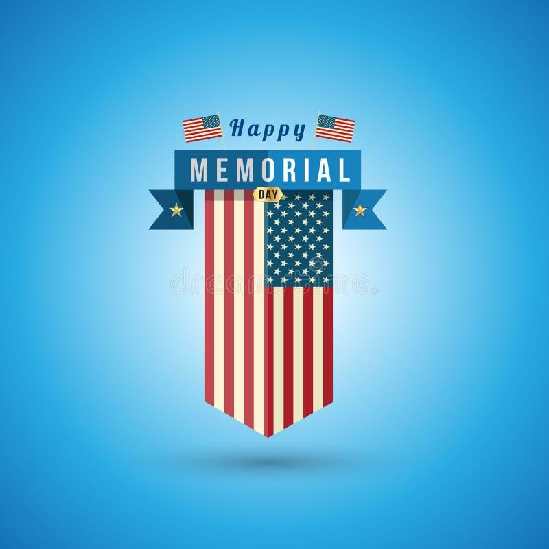 Vlag van Amerika aan herdenkingsdag royalty-vrije illustratie