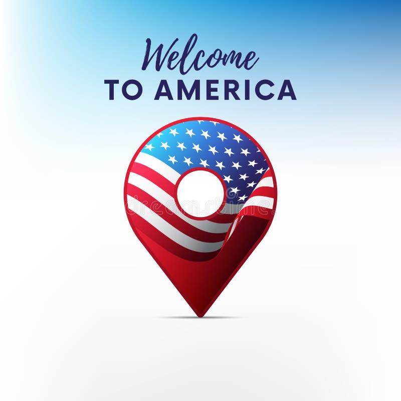 Vlag van Amerika in vorm van kaartwijzer De vlag van de V Onthaal aan Amerika Vector illustratie stock illustratie