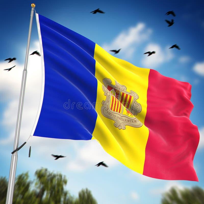 Vlag van Andorra stock illustratie