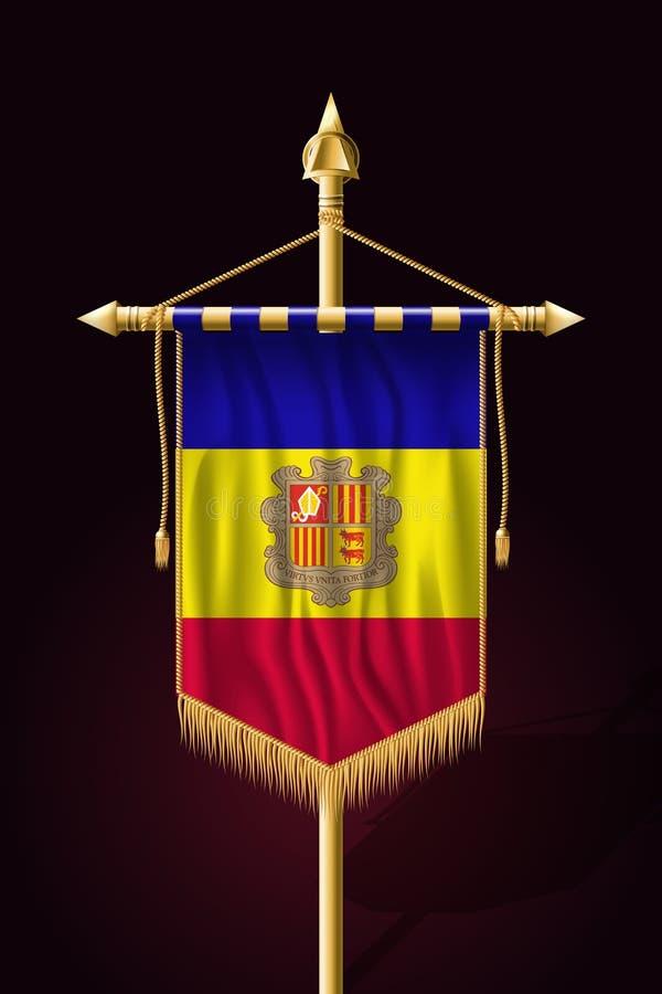 Vlag van Andorra Feestelijke Verticale Banner Muur het hangen stock illustratie