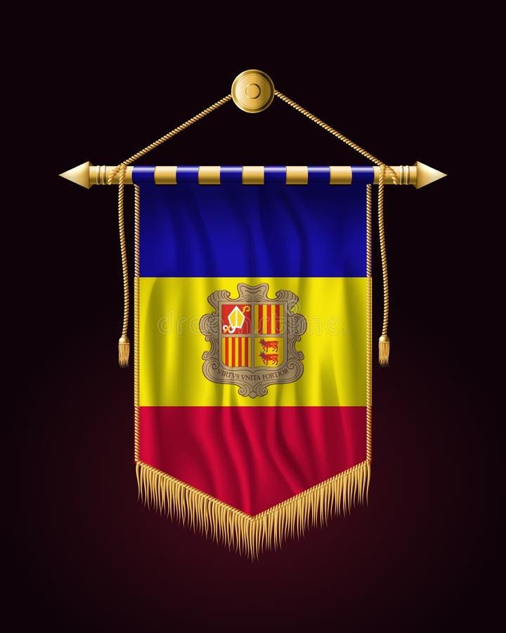 Vlag van Andorra Feestelijke Verticale Banner Muur het hangen royalty-vrije illustratie