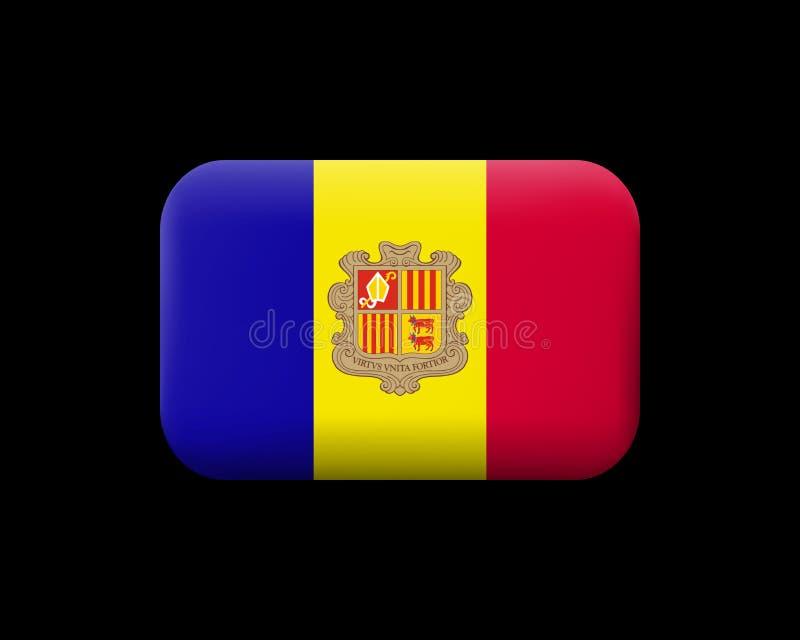 Vlag van Andorra Gematteerde Vectorpictogram en Knoop Rechthoekige Shap vector illustratie
