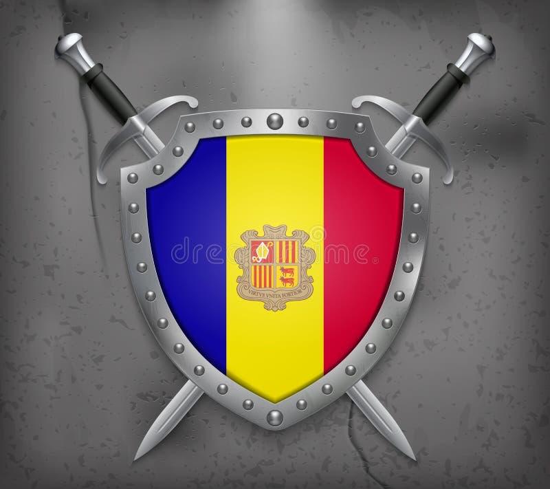 Vlag van Andorra Het Schild met Nationale Vlag Twee Gekruiste Swor stock illustratie