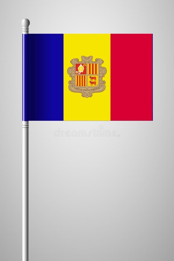 Vlag van Andorra Nationale Vlag op Vlaggestok Geïsoleerde illustratio royalty-vrije illustratie