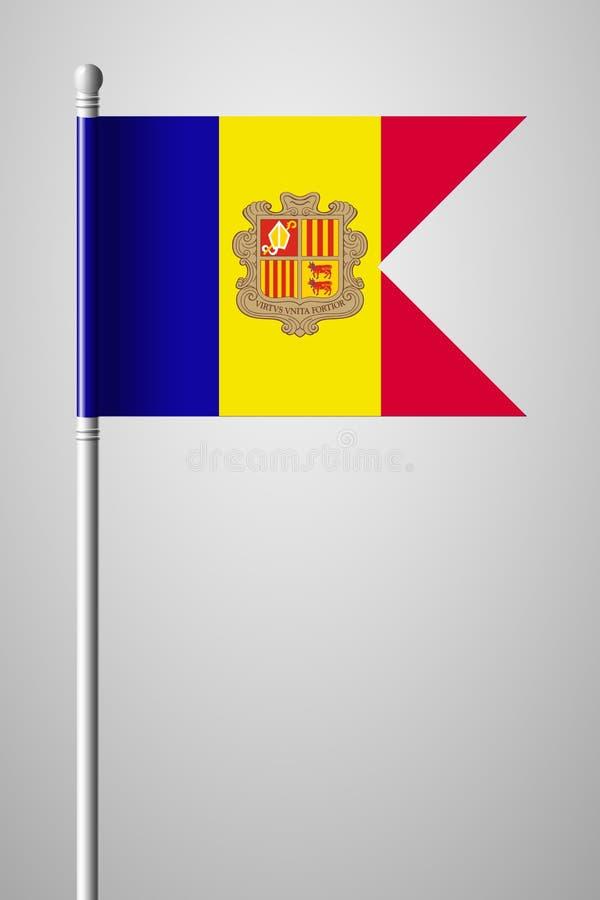 Vlag van Andorra Nationale Vlag op Vlaggestok Geïsoleerde illustratio vector illustratie