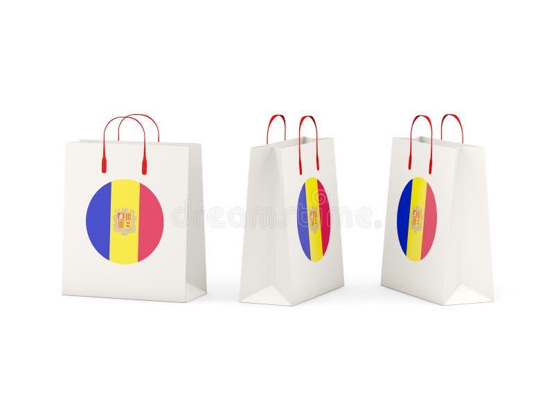 Vlag van Andorra op het winkelen zakken vector illustratie