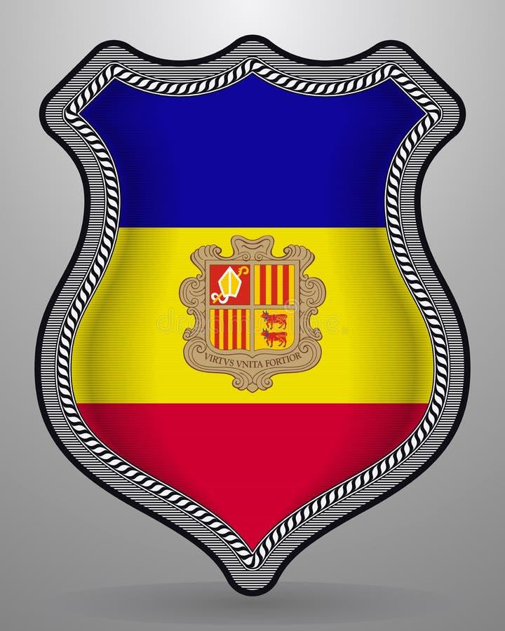 Vlag van Andorra Vectorkenteken en Pictogram stock illustratie