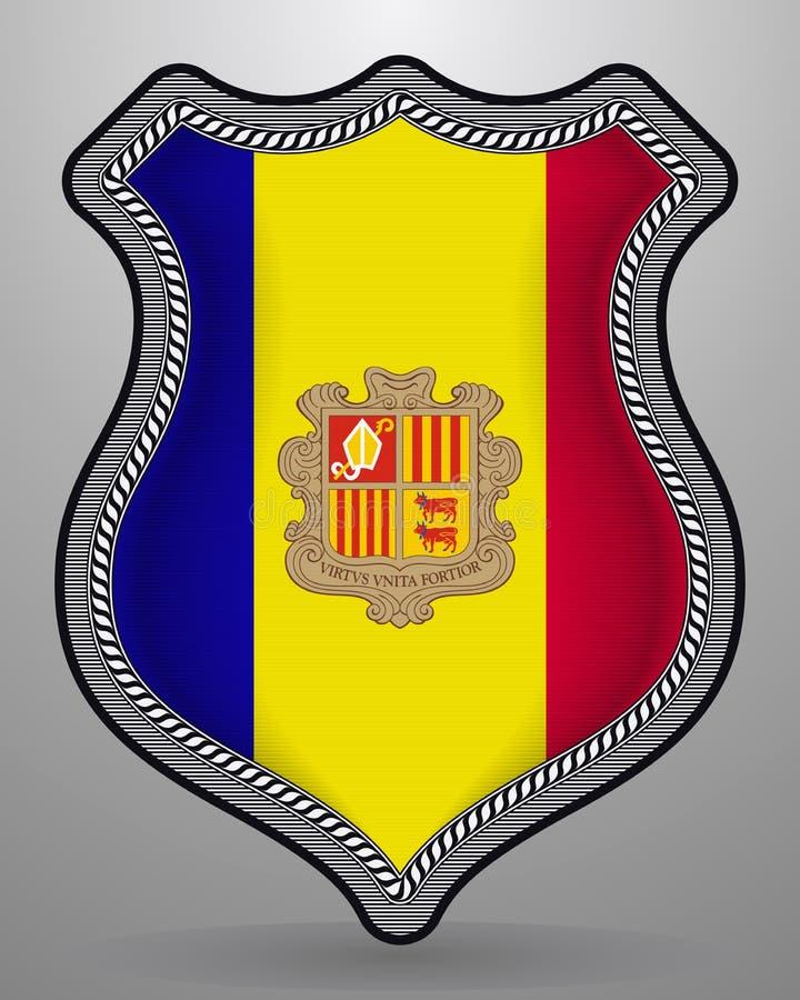 Vlag van Andorra Vectorkenteken en Pictogram vector illustratie