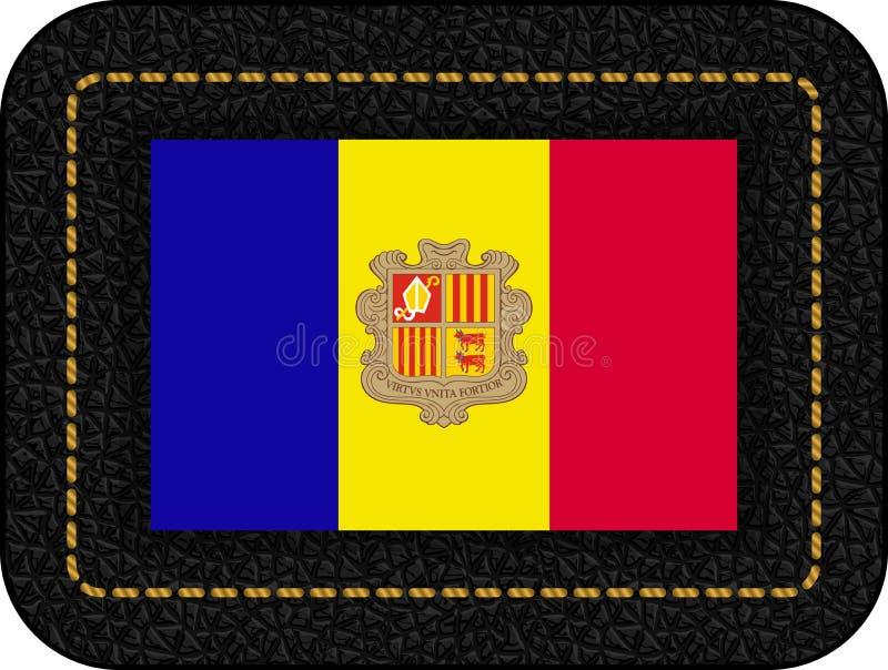 Vlag van Andorra Vectorpictogram op Zwarte Leerachtergrond stock illustratie
