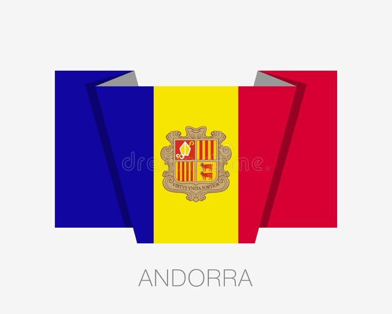 Vlag van Andorra Vlakke Pictogram Golvende Vlag met de Naam van het Land stock illustratie