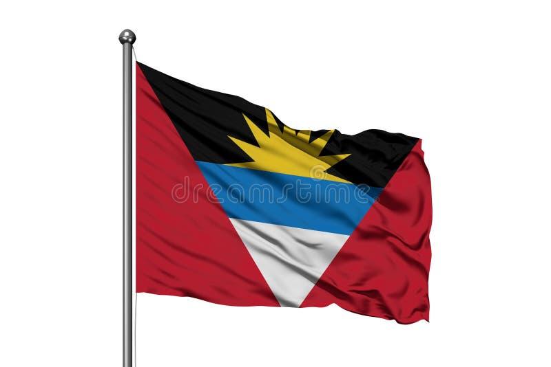 Vlag van Antigua en Barbuda die in de wind, geïsoleerde witte achtergrond golven stock fotografie