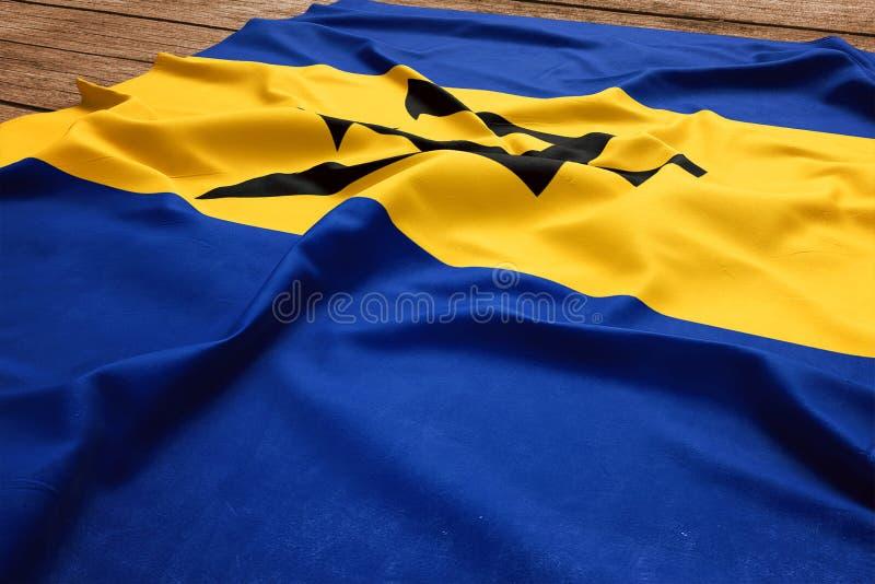 Vlag van Barbados op een houten bureauachtergrond De vlag hoogste mening van zijde van Barbados-Bajuns stock afbeeldingen
