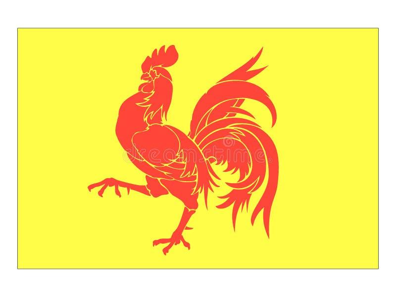 Vlag van Belgisch Gebied van Waal stock illustratie
