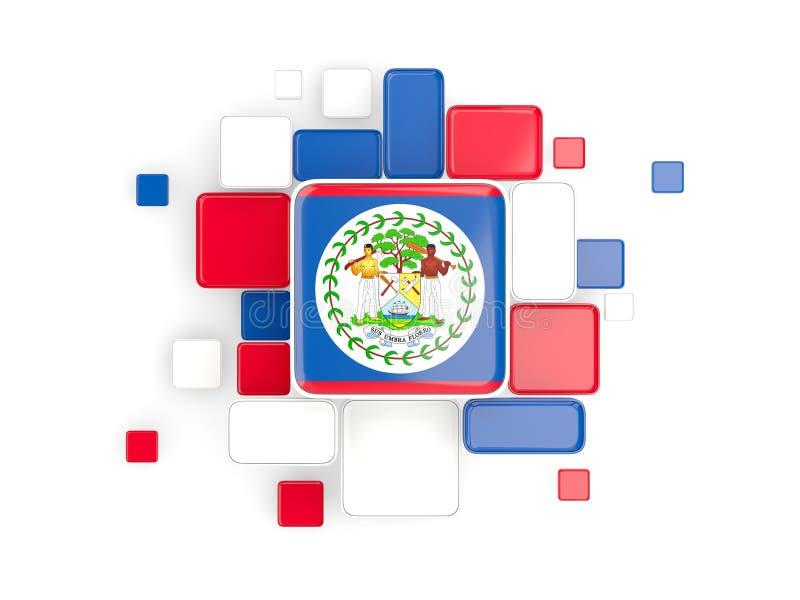 Vlag van Belize, mozaïekachtergrond stock illustratie