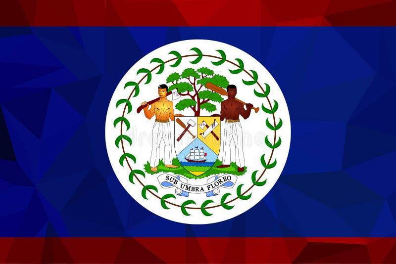 Vlag van Belize Vector Nauwkeurige afmetingen, elementenaandelen en kleuren stock illustratie